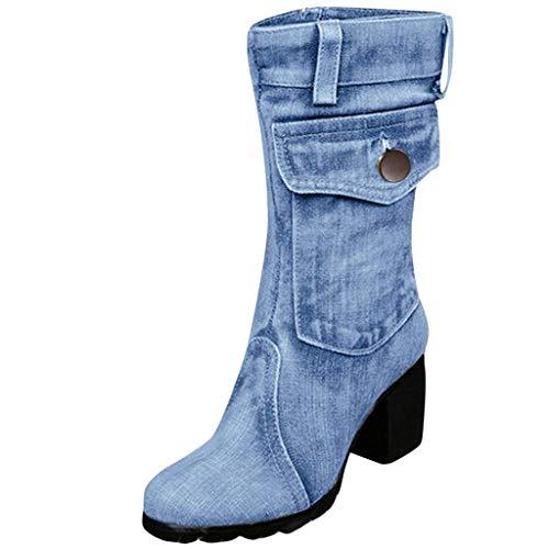 Stiefeletten mit Blockabsatz Damen Unifarben Patchwork Stiefel Mode Denim Römische Schuhe Reißverschluss Rutschfeste Boot Herbst Vintage Freizeitstiefel Westernstiefel (34.5 EU, Hellblau)