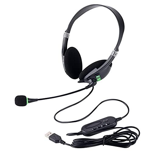 Taloit Auriculares de aviación para oficina con trigo, auriculares USB para ordenador/teléfono con micrófono con cancelación de ruido, auriculares ligeros para oficina y negocios