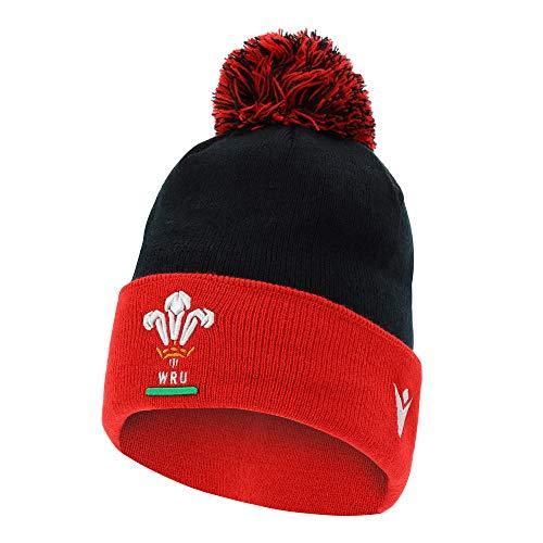 Macron Wales Fanartikel · WRU Rugby Brimmed Ski Beanie · Fan Accessoires Winter Freizeit Bommel Pudel Mütze Hut · Unisex Damen Herren Frauen Männer · Farbe Rot-Schwarz-Weiß, Erwachsene, Größe Senior
