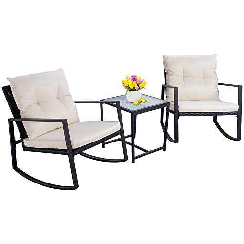 Walsunny 3 Pieces Patio Set Outdoor Wicker Patio Furniture Sets Modern Rocking Bistro Set Rattan Chair Conversation Sets with Coffee Table (Black)
