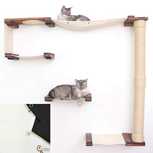 CatastrophiCreations Cat Mod Climb Track Handcrafted Wall Mounted Cat Tree Shelves, Unfinished/Natural, One Size