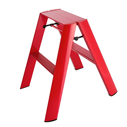 Hasegawa Ladders Lucano Step Stool, 2, Red