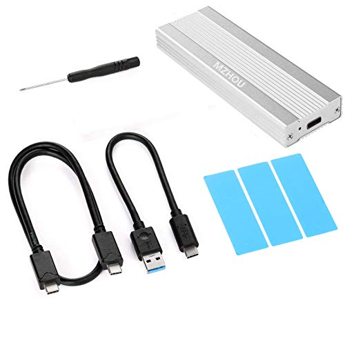 MZHOU de Disco Duro Externa USB 3.1 para SSD NVMe PCIe M.2 Carcasa de Aluminio para un Adaptador más Fresco, de Disco Duro NVMe C Gen2 USB con 10 Gbit/s, USB-C, USB-A, PCIe M-Key