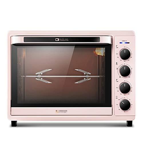Four à dessus de comptoir de gamme 42L avec fonte émaillée, plaque chauffante et couvercle, four à grille-pain rétro élégant, four à rôtir pour biscuit à pizza, rose