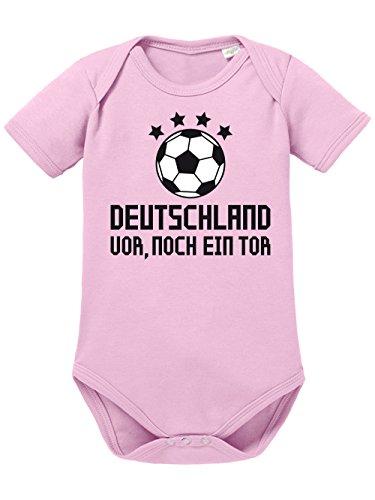 clothinx Baby Body Unisex Fußball Deutschland vor, noch EIN Tor Hellrosa/Schwarz Größe 86-92