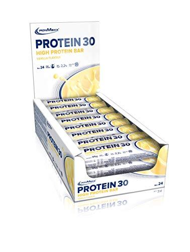 IronMaxx Protein 30 – Proteinriegel mit weniger als 1g Zucker (zuckerarm) & ohne Palmöl – weicher Eiweißriegel – Zusatz von Vitaminen – high Protein – Tray mit 24 x 35g Riegeln in Vanille