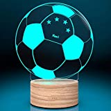Personalisierte LED-Leuchte Fussball mit Gravur | Deko-Licht personalisiert LED-Fußball mit 7 Farben - Nachtlicht Leuchtsockel