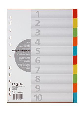 Pagna 32001-20 Register 10-teilig, 5-farbig mit Deckblatt aus stabilem RC-Karton (10er Pack)