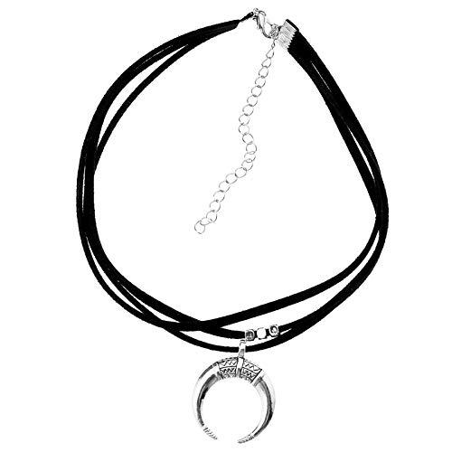 Schwarz Mond Choker Halskette Kette Velvet Wildleder Kette Halskette Retro Charm Anhänger Crescent Schmuck für Frauen Geschenke