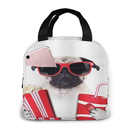 AOOEDM Bolsa de almuerzo portátil con aislamiento, para ir al cine, perro de barro, palomitas de maíz, refresco, estrella de cine, gafas, imagen divertida de animales, enfriador térmico Bento, bolso