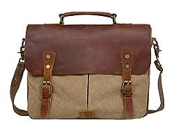ECOSUSI Umhängetasche Herren Aktentasche Messenger Bag Canvas Schultertasche Leder Tasche Khaki