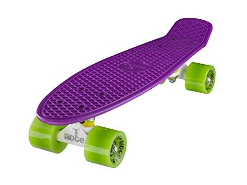 Ridge Skateboard 55cm Mini Cruiser Retro-Stil: Ltd Edition Achseln, Komplett U Fertig Montiert, Lila- Weiß- Grün