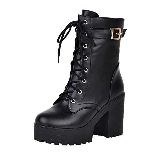 Logobeing Botines Mujer Tacon Grueso Botas Altas Mujer Casuales Zapatos de Mujer Altas Botas de Agua Mujer con Cordones Combat Zapatos (36,Negro)