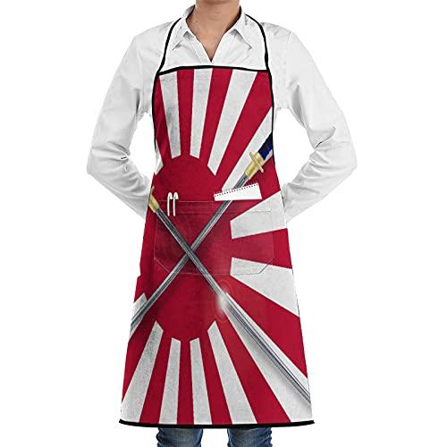 ASNIVI Delantal de cocina,La bandera japonesa del sol naciente en rojo y blanco con dos espadas samuráis cruzadas,Delantales para cocina casera, cocina de restaurante, cafetería, barbacoa