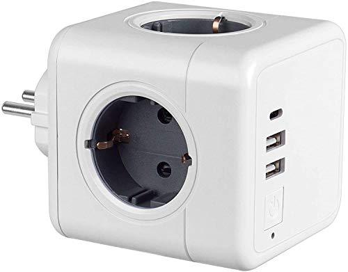 USB Steckdose Kabellos, 4 Steckdosen, 2 USB Ladegerät Anschluss und 1 Typ-C Port, 7-in-1Adapter mit USB Ladegerät, kompatibel für Reisen, Heim, Büro, Telefone, iPhone X/XS/XR, Tablets