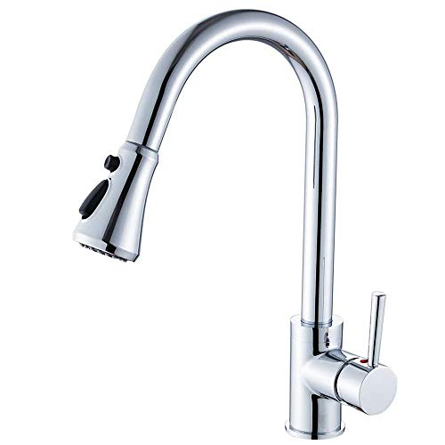Heable Kitchen Sink Mixer Tap with Pull Down Sprayer Chrome, Single Handle High Arc Pull Out Kitchen Taps, Single Level Solid Brass Kitchen Faucet with UK Standard Fittings(3-Function)