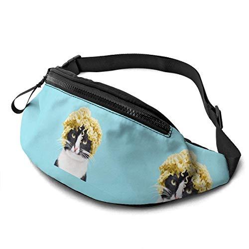 AOOEDM Lustige Katze mit Nudeln auf Kopf Laufgürtel Gürteltasche Mode Taille Beutel Tasche für Männer Frauen Sport Wandern