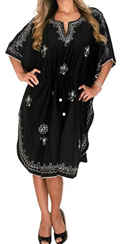LA LEELA Women's Plus Size Beach Caftan Swimsuit Cover Ups US 16-28W Black_P263