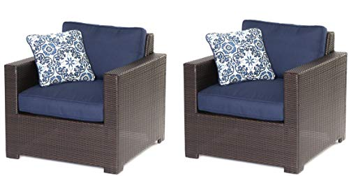 Hanover METMN2PC-B-NVY Metro Mini 2-pc Set: 2 Deep-Seating Arm Chairs with Blue Cushions Frames Outdoor Furniture, Brown/Navy