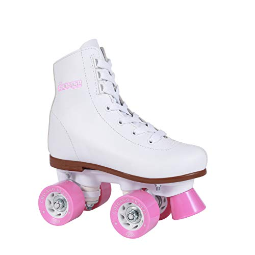 Chicago Girls Rink Roller Skate - White Youth Quad Skates - Size J11, Classic Roller Skates, Size Youth J11, White Rink Quad Skates
