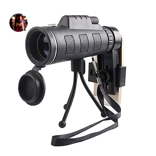 Monocular Telescope, 40X60 High Power BAK4 Prism Low Night Vision Scope, Waterproof HD Telescope with Smartphone Adapter & Tripod & Remote Shutter for Bird Watching Hunting Best Gifts for Men