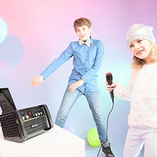 Auna DiscoFever - Impianto Karaoke per Bambini, 1 Microfono Dinamico Incluso, 2 Connessioni Microfono, CD+G-Player, 1 CD Karaoke, Uscita Video, Bianco