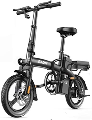 Electric Bikes, Fast Electric Bikes for Adults Folding Electric Bicycle for Adults 48V Urban Commuter Folding E-bike City Bicycle Max Speed 25 Km/h Load Capacity 150 Kg ,E-Bike ( Color : Black )
