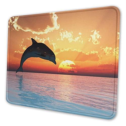 N\A Alfombrilla de ratón con Forma de delfín saltarín, Base de Goma Antideslizante, Bordes cosidos, Alfombrillas de ratón para Juegos para Ordenadores, portátiles, Accesorios de Escritorio de Oficina