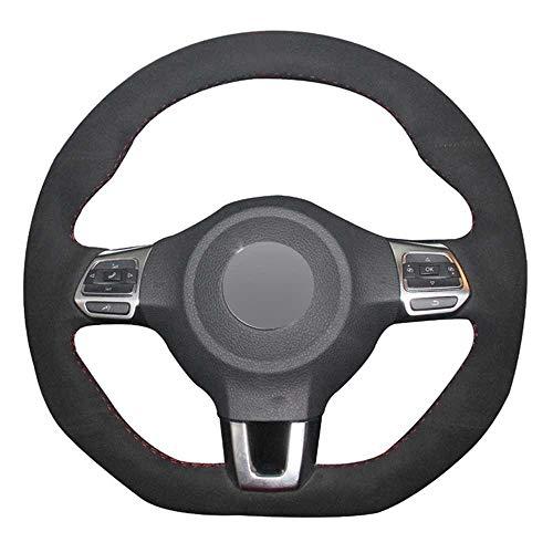 MPOQZI Auto-Lenkradabdeckung aus Wildleder, passend für Volkswagen Golf 6 GTI MK6 VW Polo GTI Scirocco R Passat CC...