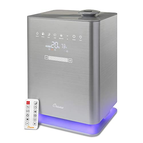 Crane Warm & Cool Mist Top Fill Humidifier with Remote, 1.2 Gallon, 500 Sq. Ft Coverage, UV Ionizing Light, Metallic