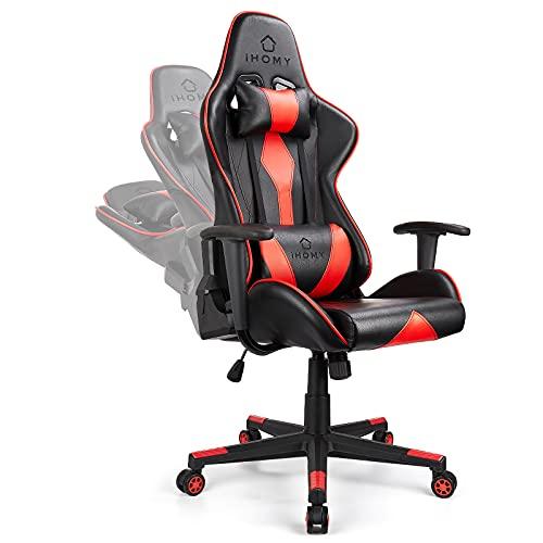 iHomy Gaming Stuhl Gamer Ergonomischer Stühle Gaming Sessel mit Kopfstützen einstellbaren Neigungswinkel Verstellbarer Drehstuhl 150 kg Rot