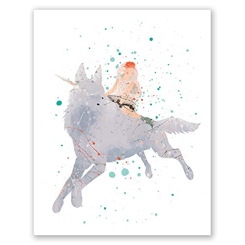 Princess Mononoke Art Poster - Watercolor Cartoon Anime Wall Art Home Decor Print – Hayao Miyazaki Illustration – Spirit Monster Artwork (8x10)