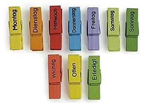 Mit diesen Wochentags-Klammern aus Holz behalten Sie und Ihre Schüler den Überblick und können die Woche leichter organisieren. Für jeden Wochentag gibt es eine Klammer in einer anderen Farbe. Darüber hinaus sind auch noch drei weitere Klammern in kn...