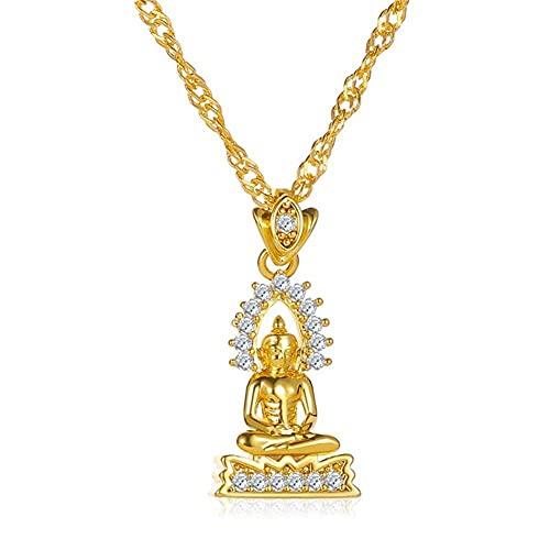 Goldene Halskette Buddha Statue Anhänger Herren Mode Statue Schmuck und Damen Anhänger Buddha Statue Halskette