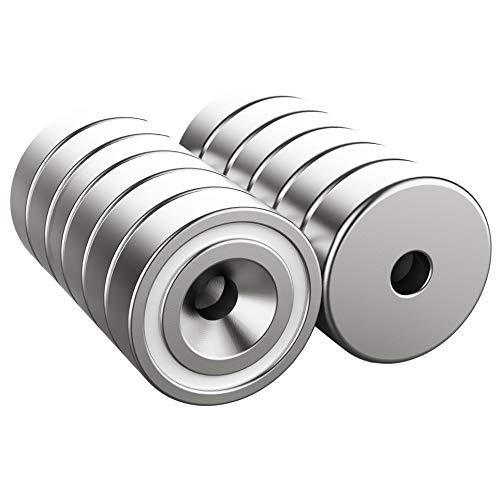 Magnetpro 12 Stück Magnete 6 KG Kraft 16 x 5 mm mit Loch & Kapsel, Senkkopf-Topfmagnet mit Schrauben