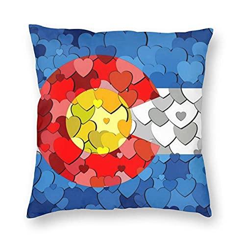 Kissenbezüge Colorado Hearts Flag Dekokissenbezüge 18x18 Zoll für Bett Sofa Stuhl Auto Kinderzimmer Dekorativ