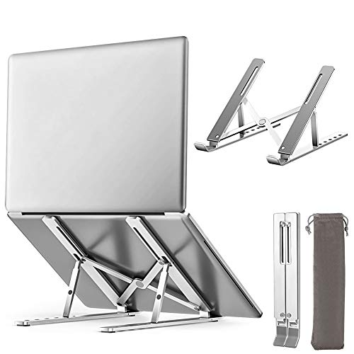 "swonuk Portable Ventilated Desktop PC Holder Aluminum Alloy Laptop Stand Notebook Tray Mount for MacBook Pro Air, iPad, Dell, HP, Samsung, Lenovo all 10-15.6"" Laptops"