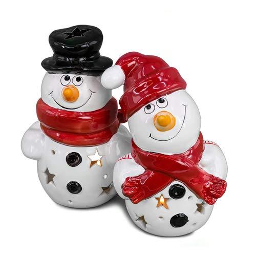 Goldbach Windlicht Schneemann, Teelichthalter Weihnachten, Weihnachtsdekoration