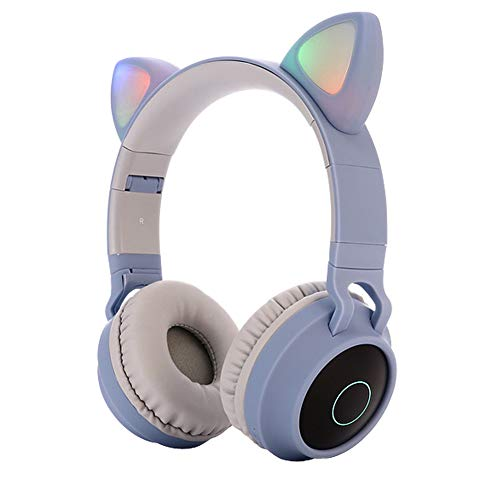 Kids Bluetooth 5.0 Cat Ear Headphones Foldable On-Ear Stereo Wireless Headset with Mic LED Light and Volume Control Support FM Radio/TF Card/Aux in Compatible with Smartphones PC Tablet (Blue)