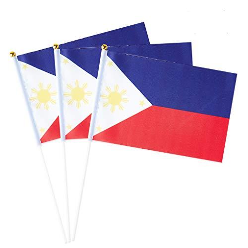 Philippines Flag Filipino Small Stick Mini Hand Held Flags Decorations 1 Dozen (12 pack)