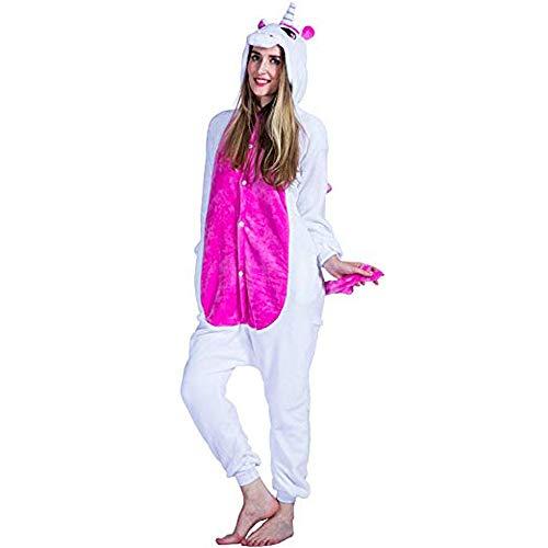JunYito Pijama Pikachu Animale Disfraz Stitch Traje Niños Niña Adulto Mujer Invierno Kigurumi Unicornio Cosplay Halloween y Navidad (M, Unicornio Adultos)