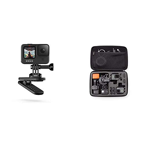 Magnetischer Drehclip - offizielles GoPro Zubehör & Amazon Basics Tragetasche für GoPro Actionkameras, Gr. L