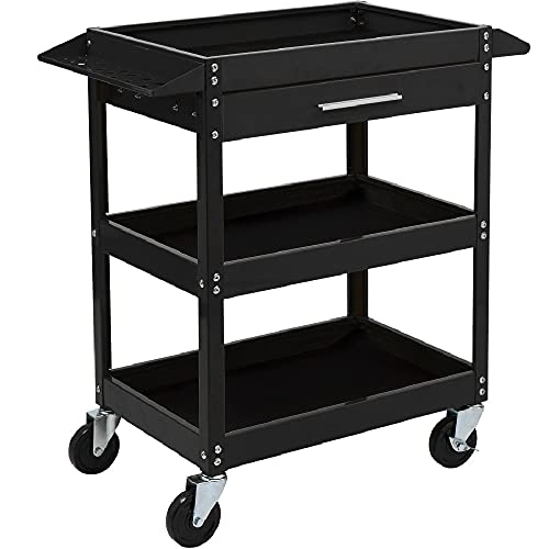 TUFFIOM 3 Tier Rolling Tool Cart, 330 LBS Capacity Industrial Service Cart, Heavy Duty Steel Utility Cart, Tool Organizer with Drawer, Perfect for Garage, Warehouse & Repair Shop (Black)