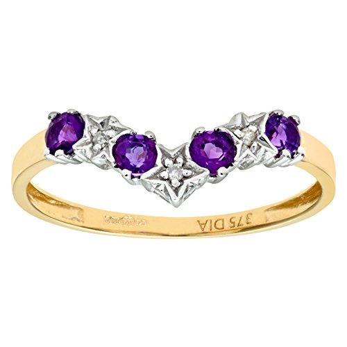 Naava Women's 9 ct Yellow Gold Amethyst and Diamond Wishbone Ring
