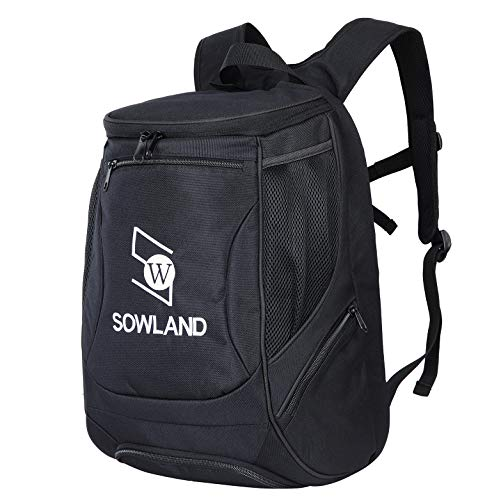 SOWLAND Tennis Backpack Racquetball Bag Separate Ventilated Shoe Compartment with 2 Rackets Holder Equipment Bag for Tennis,Racquetball,Squash,Badminton Black