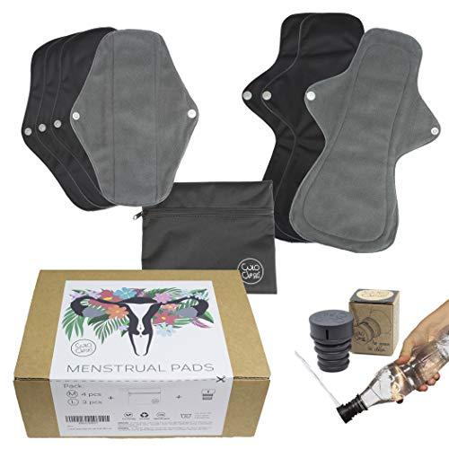 CuloClean 7pcs (4M + 3L) Compresas Menstruales Reutilizables de fibra de bambú. Flujo abundante. Ecológicas, de tela transpirable e impermeable + bolsa + bidet portátil