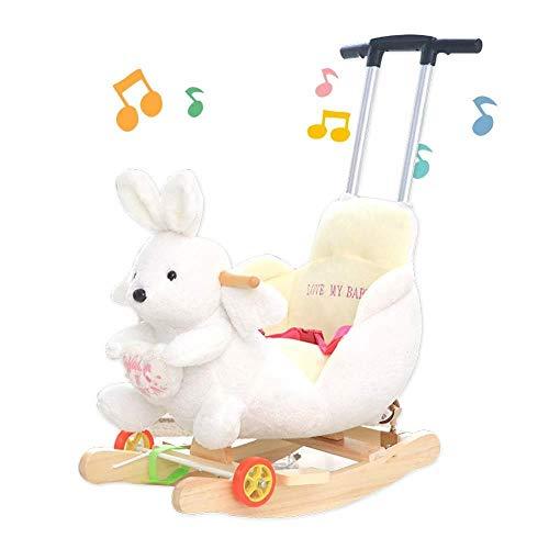 XMJ Enfants Rocking Horse, Animal Enfant Bébé Bascule en Bois Rocking Horse Ride on Toy Musique avec Roues for Jardin intérieur et extérieur Baby Toy Cadeau