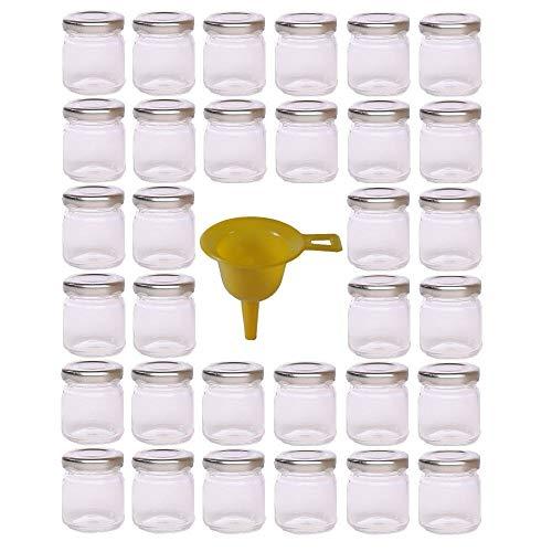 Viva Haushaltswaren - Tarros de Cristal para Mermelada de tamaño Mini (32 Unidades 53 ml Incluye Embudo y Tapa Plateada)