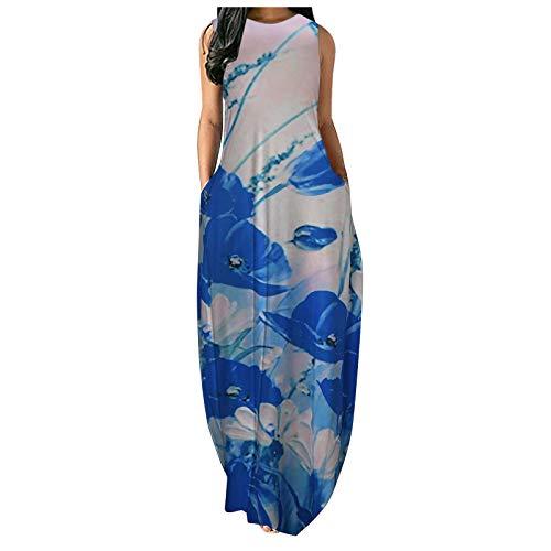 Mini vestido sin mangas vintage floral para mujer suelto liso maxi vestidos casual chaleco largo vestido con bolsillo falda corta