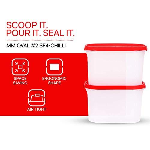 Tupperware Plastic Storage Container- 1.1 liters, 4 Pieces, White
